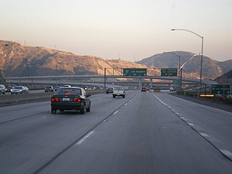 California State Route 14 - Southbound view of I-5 near its intersection with SR 14, at the Newhall Pass Interchange