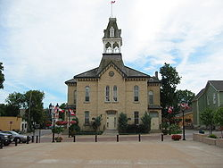Newmarket's Old Town Hall – The belltower is the result of restoration work in the 1980s