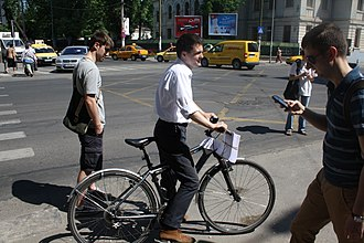Nicușor Dan - Nicușor Dan on a bicycle during his electoral campaign for Mayor of Bucharest