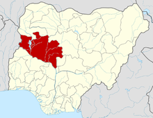 The Diocese of Minna is located in eastern Niger State which is shown here in red.