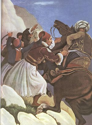 Battle of Dervenakia - Nikitas Stamatelopoulos during the Battle of Dervenakia by Peter von Hess.