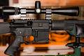 "Nikon Buckmasters Rifle Scope 6-18x 40mm SF Mil-Dot mounted on a 24"" Rock River Arms Varmint A4 AR-15.jpg"