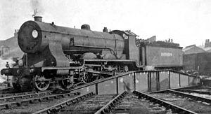 Nine Elms Locomotive Works - Ex-LSW T14 class4-6-0 on turntable at Nine Elms Locomotive Depot 1 March 1947.