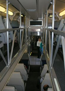 Nippon Sharyo bi-level passenger car interior hallway.JPG