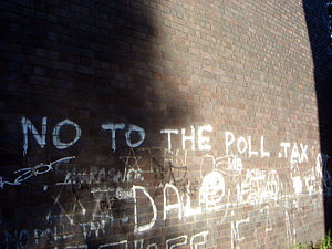 Poll tax (Great Britain) - Graffiti against the poll tax near Huddersfield