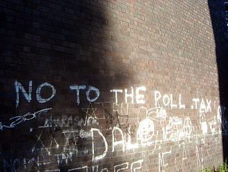 Poll tax (Great Britain) - Graffiti against the poll tax near Huddersfield