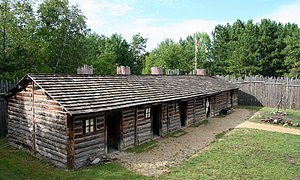 The reconstructed fort at North West Company Fur Post