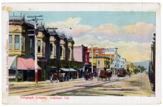 Telegraph Avenue - Looking north on Telegraph from Downtown around the turn of the century.