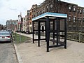 Northbound bus shelter at Fenway station, April 2016.JPG