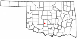 Location of Ninnekah, Oklahoma