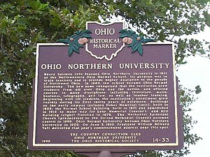Ohio Northern University - An Ohio historical marker outlining the university's history
