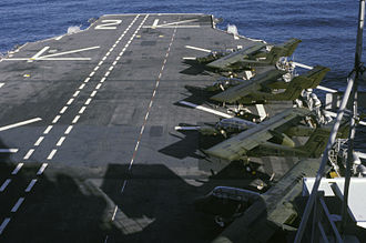 USS Saipan (LHA-2) - OV-10 Broncos of VMO-1 parked aboard Saipan in 1987