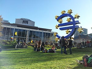 English: OccupyFrankfurt at the European Centr...