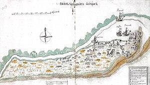 Okhotsk - Map of Okhotskoy Ostrog, ink drawing, 1737