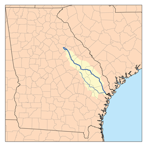 Canoochee River - Map of the Ogeechee River watershed showing the Canoochee River