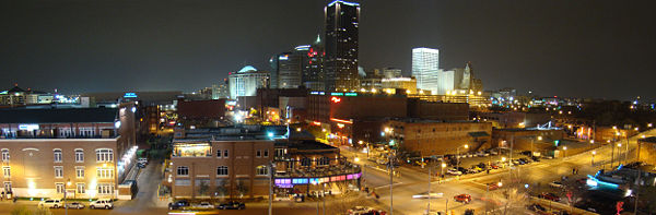 A 2008 panoramic view of Downtown Oklahoma City's skyline.
