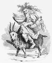 Engraving of Father Christmas riding a Yule Goat
