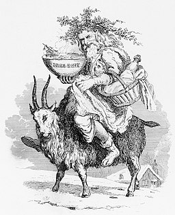Old Christmas riding a goat, by Robert Seymour, 1836
