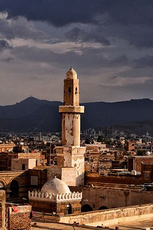 Great Mosque of Sana'a - One of two minarets of Great Mosque in Sanaa.