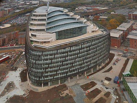 One Angel Square as viewed from the CIS Tower nearing completion in October 2012. One Angel Square from CIS Tower, Oct 2012.jpg
