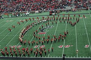 University of Cincinnati Bearcat Bands - The UC Bearcat Band forms a C-Paw during their pre-game show.