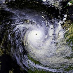 Satellite image of Cyclone Orson near peak intensity
