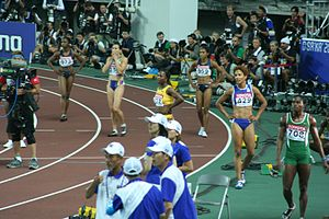 2007 World Championships in Athletics – Women's 100 metres - After the final
