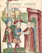 Otto IV. And Pope Innocent III.  Shake hands in front of the arriving ships of Frederick II