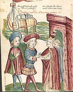 Otto IV. und Papst Innocenz III. reichen sich vor den ankommenden Schiffen Friedrichs II. die Hände.jpg