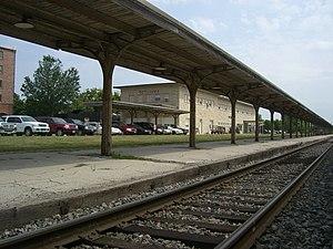 Ottumwa, Iowa - View of Amtrak passenger rail station and platform.