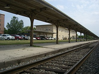 Ottumwa, Iowa - View of Amtrak passenger rail station and platform.