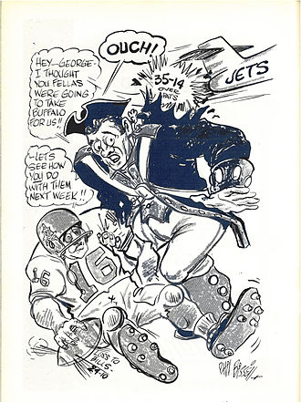 History of the New York Jets - Boston mascot Pat Patriot is bombed by the Jets as he remonstrates with Houston Oiler quarterback George Blanda for his failure to beat the Buffalo Bills, by Phil Bissell for the November 6, 1964 Chargers/Patriots game program.