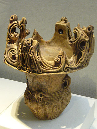 """Japanese Prehistoric Art - Middle Jōmon (3000-2000 BCE). """"Crown formed vessel,"""" a variation on the flame vessel style for which Jōmon art is famous."""
