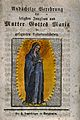 Our Lady of Expectation. Coloured woodut. Wellcome V0033368.jpg