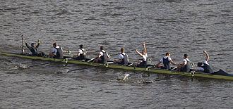 The Boat Races 2015 - Oxford Men's VIII celebrating victory
