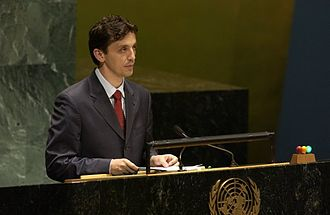 Predrag Bošković - Delivering a speech at the United Nations General Assembly (2005)