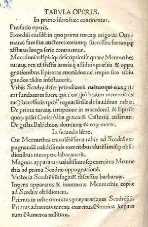Marin Barleti - A page from De obsidione Scodrensi (1504)