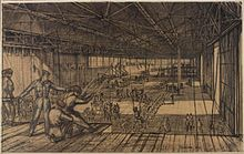 Parachute Training at Ringway (1945) by painter Patrick Hall shows an interior view of paratroopers undergoing training in a hangar at the Parachute Training School at RAF Ringway.