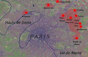 2005 French riots - Areas of Rioting in the Paris region as of 1 November