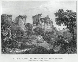 Part of Chepstow Castle as seen from the moat