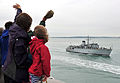 People Wave as HMS Chiddingfold Returns to Portsmouth MOD 45153054.jpg