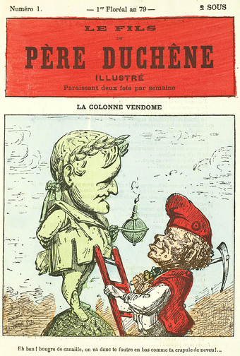 Le Pere Duchene looks at the statue of Napoleon on top of the Vendome column, about to be torn down by the Communards. PereDuchesneIllustre1 1 0.png