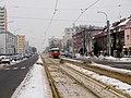 Petřiny, ulice Na Petřinách s tramvají.jpg