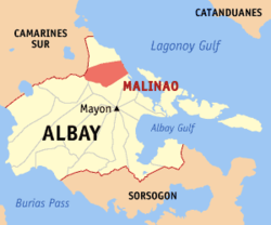 Map of Albay with Malinao highlighted