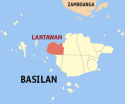 Map of Basilan with Lantawan highlighted
