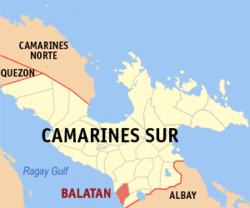 Map of Camarines Sur showing the location of Balatan
