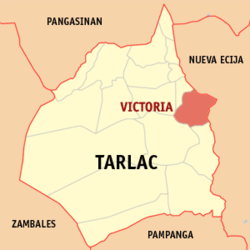 Map of Tarlac showing the location of Victoria