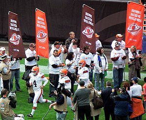 2012 Cleveland Browns season - Phil Dawson and Reggie Hodges lead the Browns onto the field against Buffalo in week 3