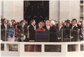 Photograph of President Reagan being sworn in on Inaugural Day, U.S. Capitol - NARA - 198506.tif