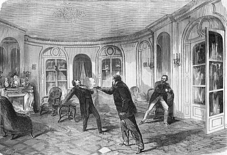 Pierre Napoléon Bonaparte - Pierre Bonaparte shoots Victor Noir. From left to right: Victor Noir, Pierre Bonaparte, Ulrich de Fonvielle